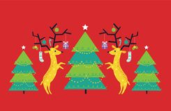 Vector illustration of geometric and flat reindeer and Christmas trees against red background. Holiday illustration of reindeer and Christmas trees Royalty Free Stock Photography