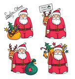 Holiday illustration with Santa Claus character,reindeer, bag, packbag, Christmas tree, gifts and Christmas decorations. Holiday illustration with Santa Claus Stock Photo