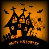 Holiday illustration on theme of Halloween. Wishes for Happy Halloween. Trick or treat Stock Image