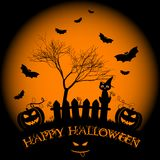 Holiday illustration on theme of Halloween. Wishes for Happy Halloween. Trick or treat Royalty Free Stock Images