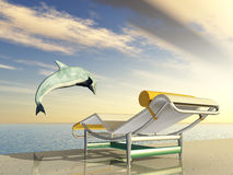 Holiday Impression with Jumping Dolphin and Deck Chair Stock Photography