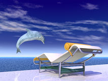 Holiday Impression with Jumping Dolphin and Deck Chair. Computer generated 3D illustration with Jumping Dolphin and Deck Chair Royalty Free Stock Photos