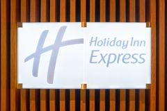 Holiday Inn Express. MOSCOW, RUSSIA - CIRCA AUGUST, 2018: close up shot of Holiday Inn Express sign. Holiday Inn Express is a mid-priced hotel chain within the royalty free stock image
