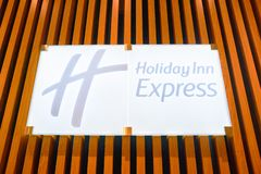 Holiday Inn Express. MOSCOW, RUSSIA - CIRCA AUGUST, 2018: close up shot of Holiday Inn Express sign. Holiday Inn Express is a mid-priced hotel chain within the stock photo