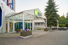 Holiday Inn Express. MOSCOW, RUSSIA - CIRCA AUGUST, 2018: Holiday Inn Express hotel in Moscow. Holiday Inn Express is a mid-priced hotel chain within the royalty free stock photo