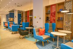 Holiday Inn Express. MOSCOW, RUSSIA - CIRCA AUGUST, 2018: interior shot of a Holiday Inn Express Hotel. Holiday Inn Express is a mid-priced hotel chain within royalty free stock images