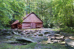 Holiday inn at the great smoky. Red little hut in the woods at the Great Smoky Mountains national park Stock Images