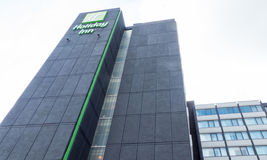 Holiday Inn hotel. Tall black building in Glasgow near international Airport, Scotland Stock Photos