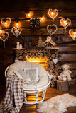 Holiday interior design of rustic living room. Stock Photography