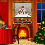 Holiday interior with fireplace, gifts and decorated christmas t. Ree. Xmas and New Year greeting card. Vector illustration Stock Photo
