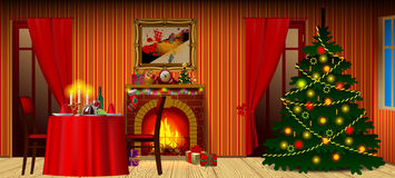 Holiday interior with fireplace, gifts and decorated christmas t Stock Photos
