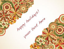 Holiday Invitation. Retro florals on opposite sides leave large area for text Royalty Free Stock Image
