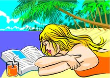 On holiday at the island beach Royalty Free Stock Images