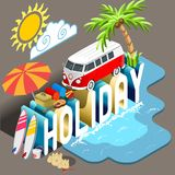 Holiday Isometric Postcard Infographic Royalty Free Stock Image