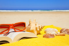 Holiday items in the beach Royalty Free Stock Photo