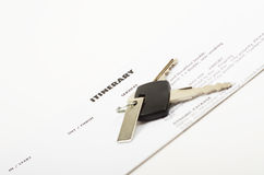 Holiday itinerary and car keys Royalty Free Stock Photos