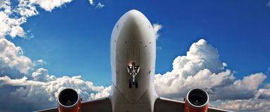 Holiday jet with beautiful blue sky Royalty Free Stock Photo