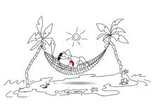 Holiday. Joe is in holiday in a desert island. He tans in a hammock between two coconuts. Bye bye my boss loved Royalty Free Stock Photos