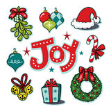 Holiday joy seasonal icons, wreath, ornaments illustration set. This is a holiday icon collection featuring the word joy. This is a vector created illustration stock illustration