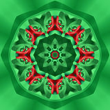 Holiday Kaleidoscope. Abstract kaleidoscope in christmas colors of red and green Royalty Free Stock Photo