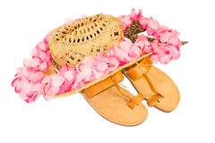 Holiday kit of hat, lei and flip flops Stock Photography