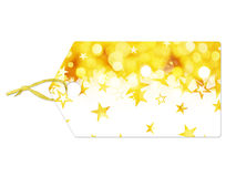 Holiday label with golden stars falling. Isolated on white background Stock Illustration