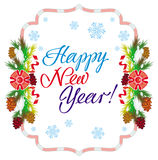 Holiday label with greeting text `Happy New Year!` Royalty Free Stock Photo