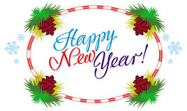 Holiday label with greeting text `Happy New Year!` Royalty Free Stock Photography