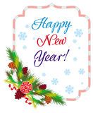 Holiday label with greeting text `Happy New Year!` Stock Photo