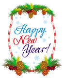 Holiday label with greeting text `Happy New Year!`. Stock Photos