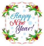 Holiday label with greeting text `Happy New Year!`. Stock Photography