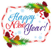 Holiday label with greeting text `Happy New Year!`. Stock Images