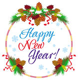 Holiday label with greeting text `Happy New Year!` Stock Image