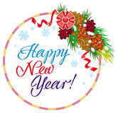 Holiday label with greeting text `Happy New Year!` Stock Photos