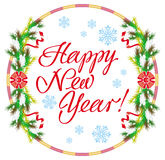 Holiday label with greeting text `Happy New Year!` Stock Photography
