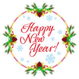 Holiday label with greeting text `Happy New Year!` Royalty Free Stock Image
