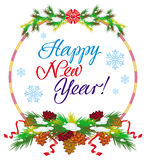 Holiday label with greeting text `Happy New Year!`. Royalty Free Stock Image