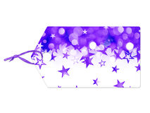 Holiday label with purple stars falling Stock Photo