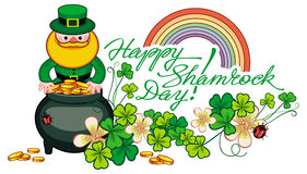 Holiday label with shamrock, rainbow, leprechaun and a pot of go Royalty Free Stock Photos
