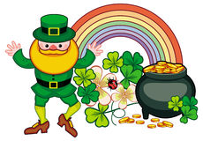 Holiday label with shamrock, rainbow, leprechaun and a pot of go Stock Images