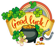 Holiday label with shamrock, rainbow and leprechaun pot of gold. Raster clip art Stock Images