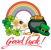 Holiday label with shamrock, rainbow and leprechaun pot of gold. Raster clip art Stock Photo