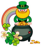 Holiday label with shamrock, rainbow, leprechaun and a pot of gold. Raster clip. Stock Photography