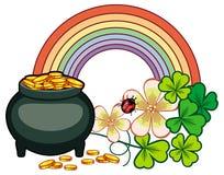 Holiday label with shamrock, rainbow and leprechaun pot of gold. Stock Image