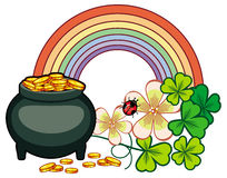 Holiday label with shamrock, rainbow and leprechaun pot of gold. Royalty Free Stock Images