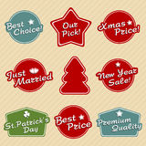 Holiday labels set Stock Photo