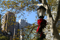 Holiday Lamp. New York City Holiday Lamp royalty free stock photo