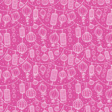 Holiday lanterns line art seamless pattern Royalty Free Stock Photography