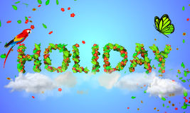 Holiday leaves particles 3D. Digital art Royalty Free Stock Image