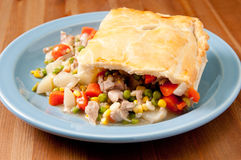 Holiday leftover turkey pot pie Stock Images